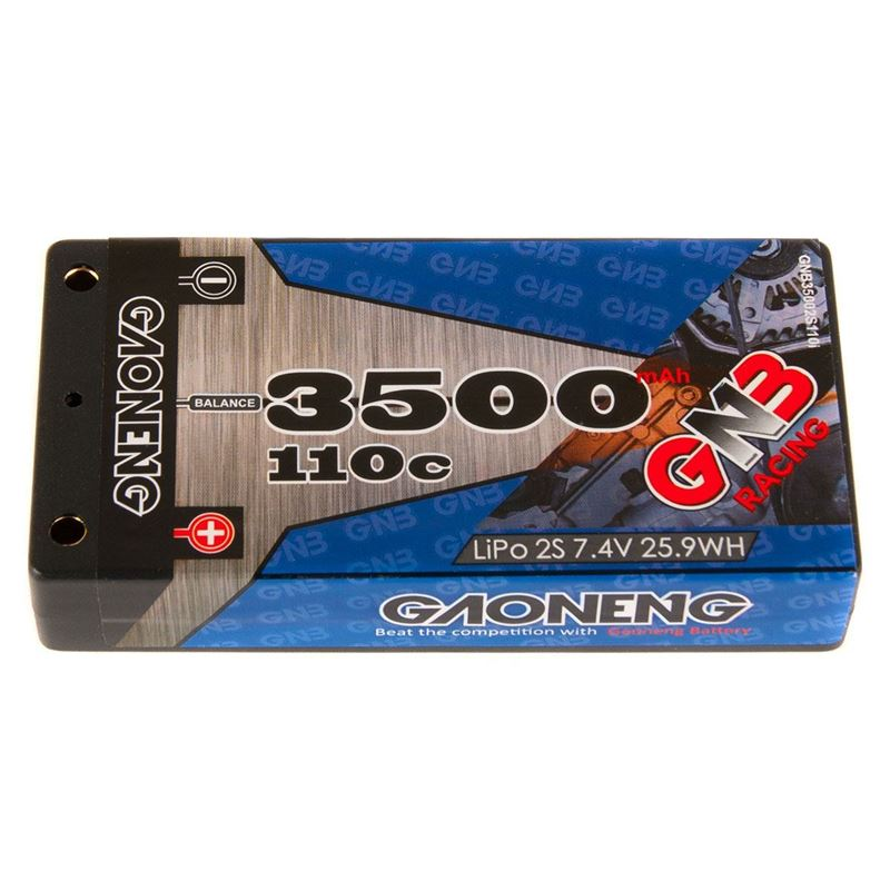 """Picture of GNB Racing 2S 110C LiPo """"Thin"""" Shorty Battery Pack (7.4V/3500mAh)"""